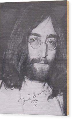 John Lennon Wood Print by Donna Wilson