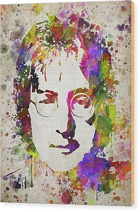 John Lennon In Color Wood Print by Aged Pixel