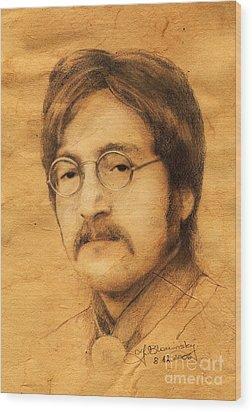 John Lennon Wood Print by Jaroslaw Blaminsky