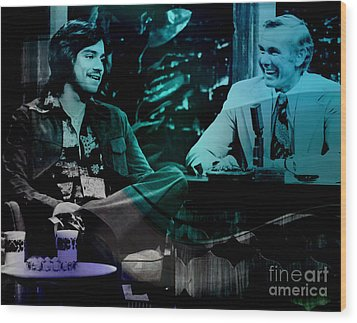 Johnny Carson And Freddie Prince Jr Wood Print by Marvin Blaine