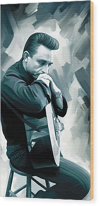Johnny Cash Artwork 3 Wood Print by Sheraz A