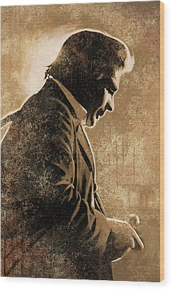 Johnny Cash Artwork Wood Print by Sheraz A