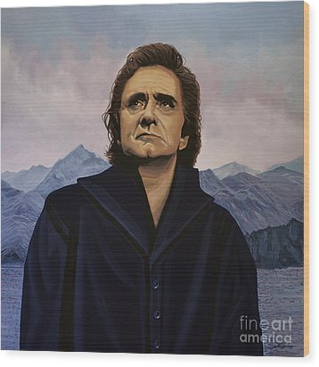 Johnny Cash Painting Wood Print by Paul Meijering