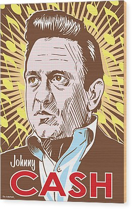Johnny Cash Pop Art Wood Print by Jim Zahniser