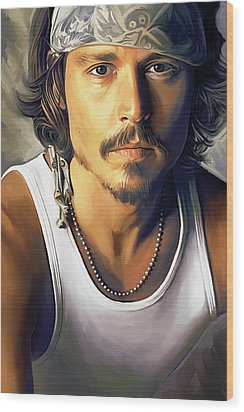 Johnny Depp Artwork Wood Print by Sheraz A