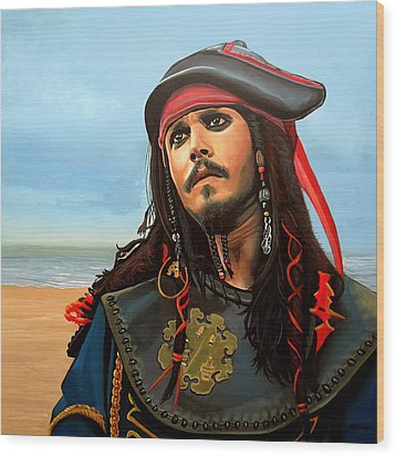Johnny Depp As Jack Sparrow Wood Print by Paul Meijering