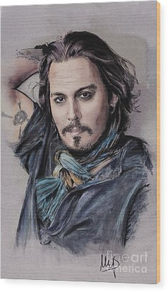 Johnny Depp Wood Print by Melanie D