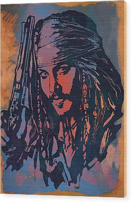 Johnny Depp - Stylised Etching Pop Art Poster Wood Print by Kim Wang