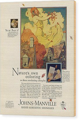 Johns-manville 1927 Usa Cc  Asbestos Wood Print by The Advertising Archives