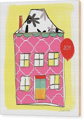 Joy House Card Wood Print by Linda Woods