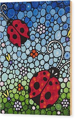 Joyous Ladies Ladybugs Wood Print by Sharon Cummings