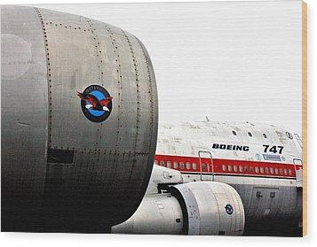 Jumbo Jet Wood Print by Benjamin Yeager
