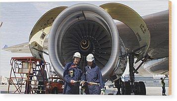 Jumbo Jet Engine Power Wood Print by Christian Lagereek