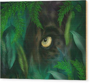 Jungle Eyes - Panther Wood Print by Carol Cavalaris