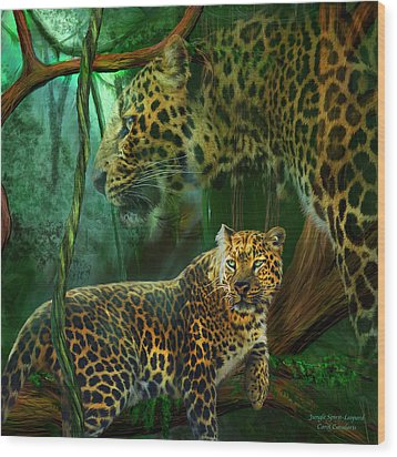 Jungle Spirit - Leopard Wood Print by Carol Cavalaris