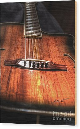 Just Music Digital Guitar Art By Steven Langston Wood Print by Steven Lebron Langston