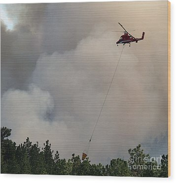 Wood Print featuring the photograph K-max Helicopter On Myrtle Fire by Bill Gabbert