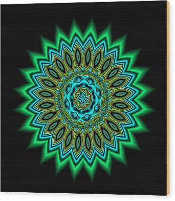 Kaleidoscope 1 Blues And Greens Wood Print by Faye Giblin