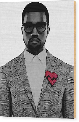 Kanye West  Wood Print by Dan Sproul