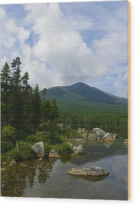 Katahdin From Sandy Stream Pond Wood Print by Georgia Hamlin