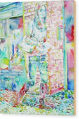 Kate Middleton Portrait.3 Walking In The Street Wood Print by Fabrizio Cassetta