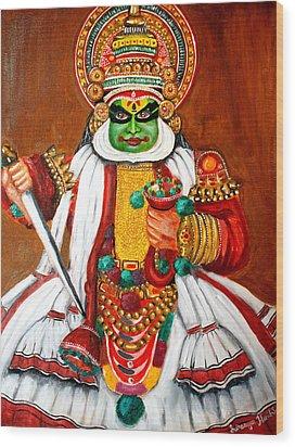 Kathakali Wood Print by Saranya Haridasan