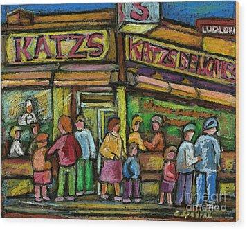 Katz's Deli Wood Print by Carole Spandau