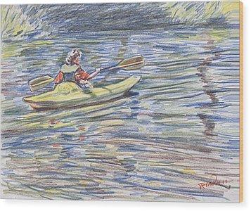 Kayak In The Rapids Wood Print by Horacio Prada