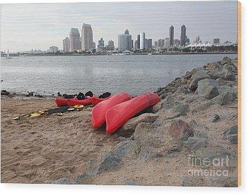 Kayaks On Coronado Island Overlooking The San Diego Skyline 5d24368 Wood Print by Wingsdomain Art and Photography