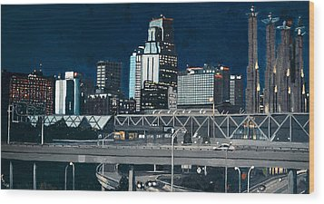 Kc At Dusk Wood Print by Patricio Lazen
