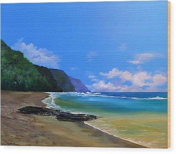 Ke'e Beach Kauai Wood Print by Ken Ahlering