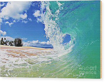 Keiki Beach Wave Wood Print by Paul Topp