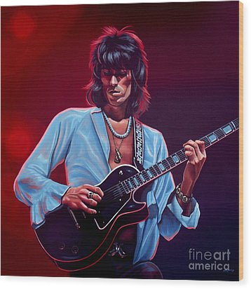 Keith Richards The Riffmaster Wood Print by Paul Meijering