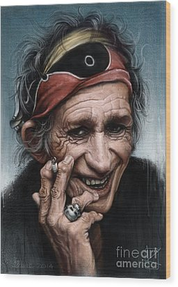 Keith Richards Wood Print by Andre Koekemoer