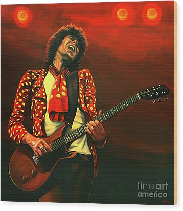Keith Richards Painting Wood Print by Paul Meijering