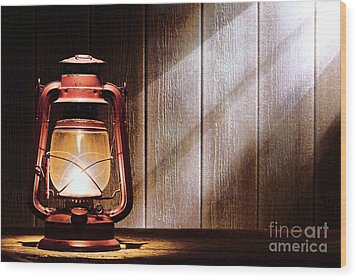 Kerosene Lantern Wood Print by Olivier Le Queinec