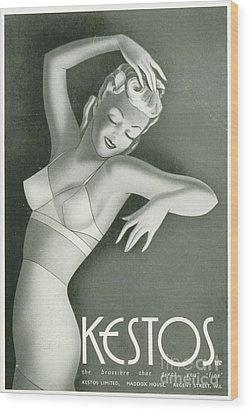 Kestos 1930s Uk Womens Underwear Bras Wood Print by The Advertising Archives