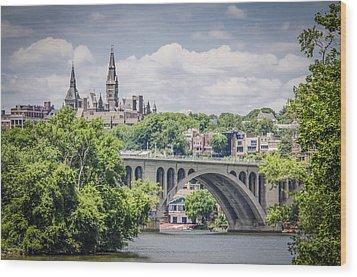 Key Bridge And Georgetown University Wood Print by Bradley Clay