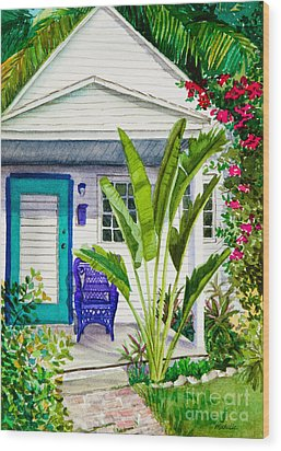 Key West Cottage Watercolor Wood Print by Michelle Wiarda