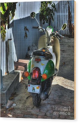 Key West Scooter Wood Print by Mel Steinhauer