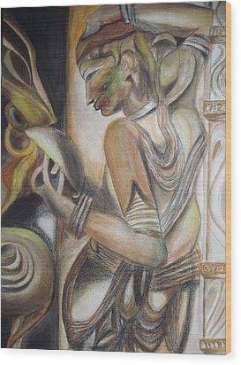 Khajuraho Tantrik Dancer Applying Make-up Wood Print by Prasenjit Dhar
