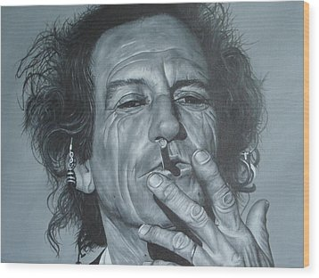 Keith Richards Wood Print by David Dunne