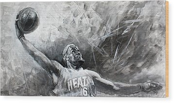 King James Lebron Wood Print by Ylli Haruni