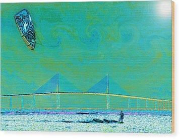 Kiteboarding The Bay Wood Print by David Lee Thompson