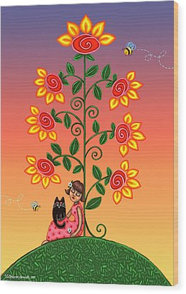 Kitty And Bumblebees Wood Print by Victoria De Almeida