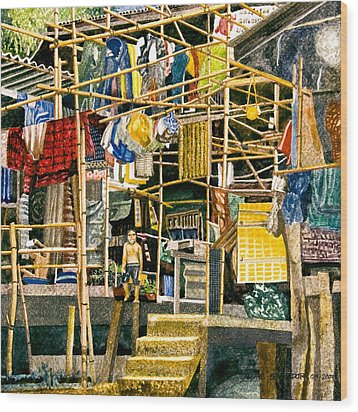 Klong House Wood Print by Andre Salvador