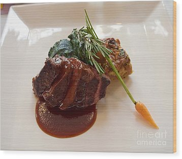 Kobe Beef With Spring Spinach And A Wild Mushroom Bread Pudding Wood Print by Louise Heusinkveld