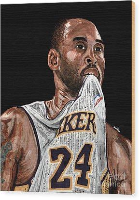 Kobe Bryant Biting Jersey Wood Print by Israel Torres