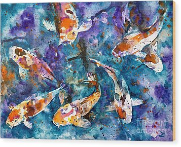 Koi Impression Wood Print by Zaira Dzhaubaeva