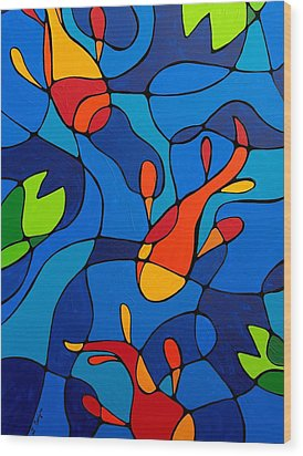 Koi Joi - Blue And Red Fish Print Wood Print by Sharon Cummings